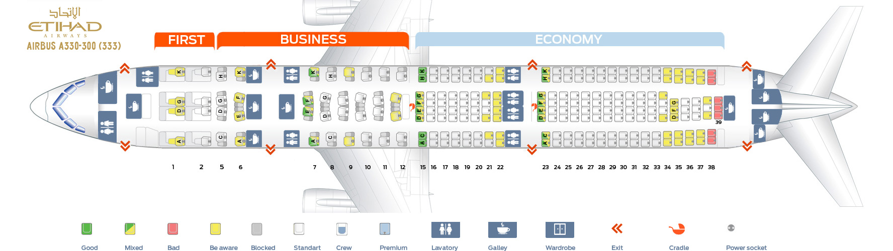 Seat Map Airbus A330-300 Etihad Airways