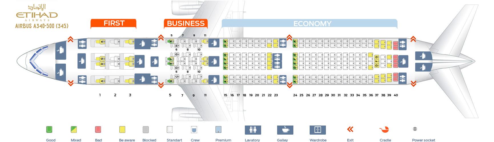 Seat Map Airbus A340-500 Etihad Airways