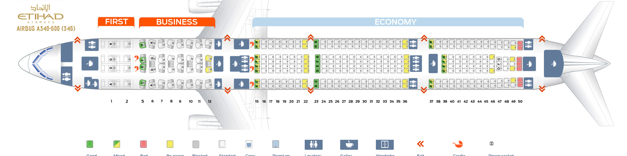 Seat Map Airbus A340-600 Etihad Airways