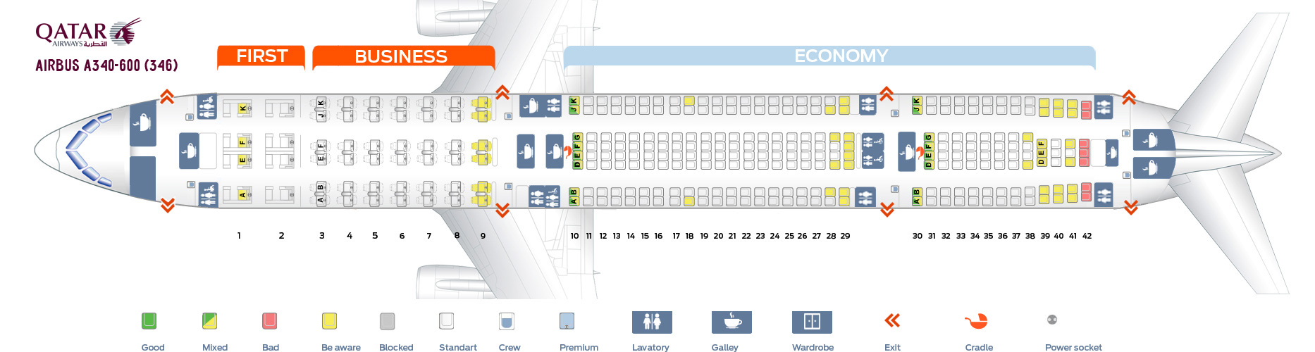 Seat Map Airbus A340-600 Qatar Airways