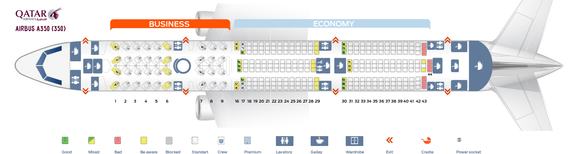 Seat Map Airbus A350-900 Qatar Airways