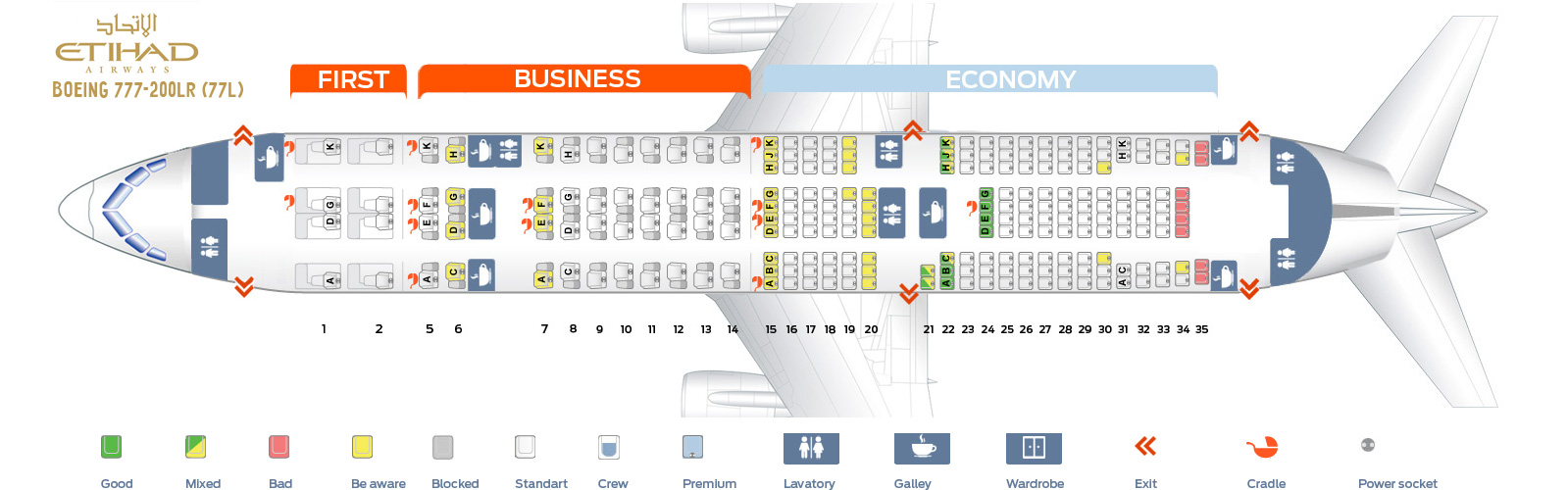 Seat Map Boeing 777-200LR Etihad Airways
