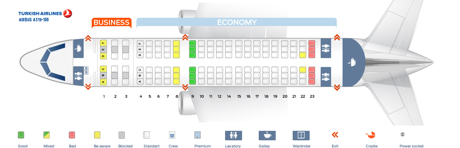 Seat Map Airbus A319-100 Turkish Airlines