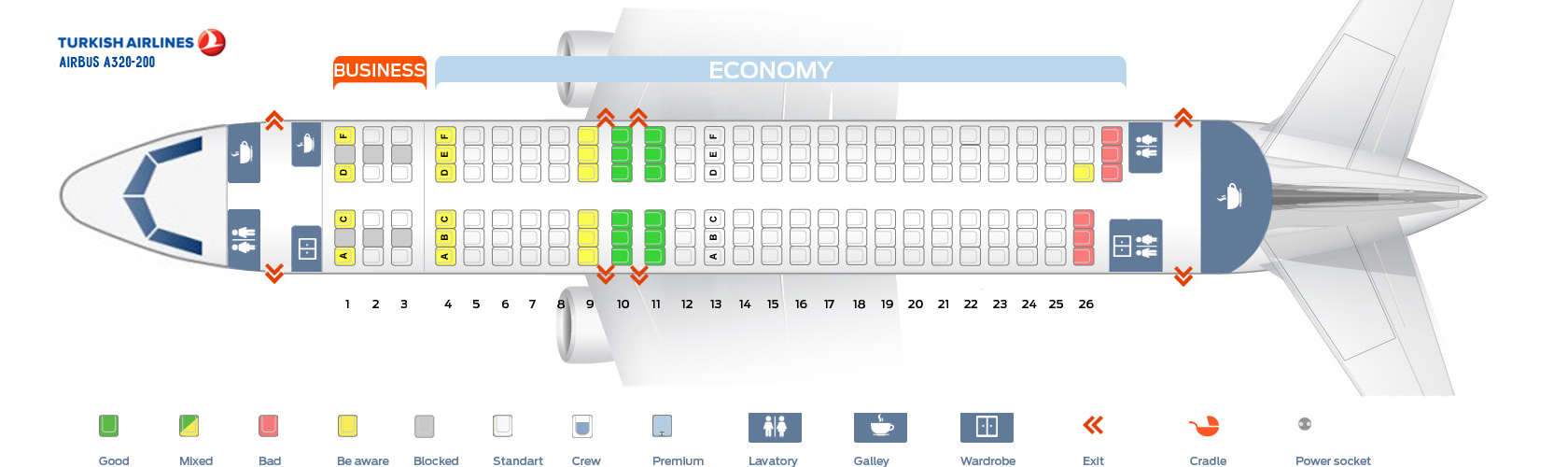 Seat Map Airbus A320-200 Turkish Airlines