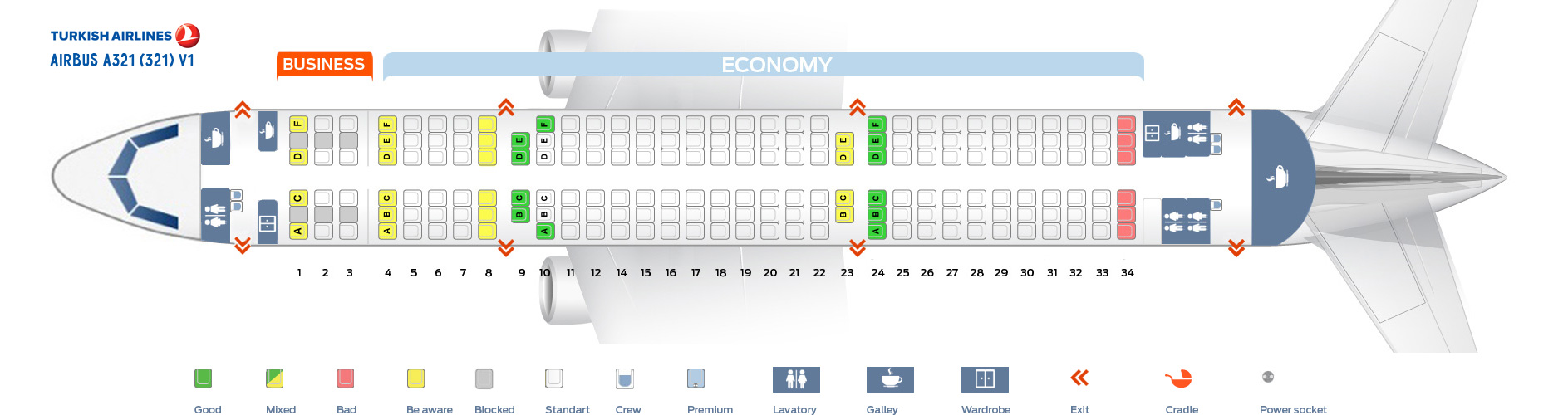 Seat Map Airbus A321-200 V1 Turkish Airlines