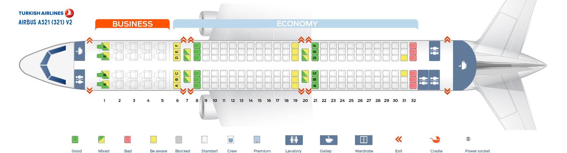 Seat Map Airbus A321-200 V2 Turkish Airlines