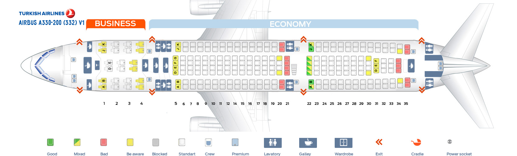 Seat Map Airbus A330-200 V1 Turkish Airlines