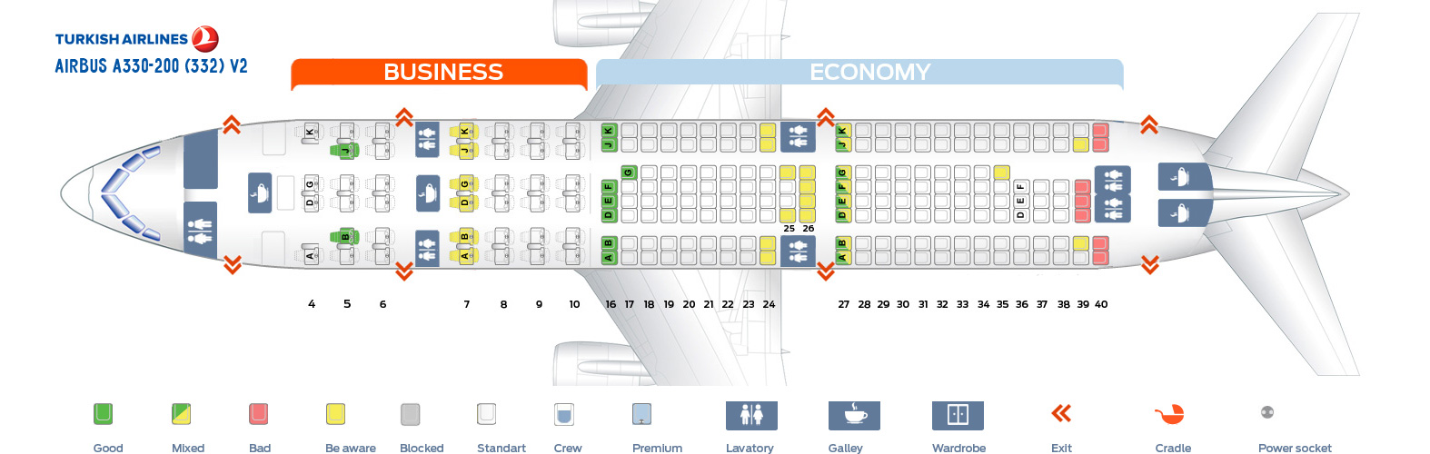 Seat Map Airbus A330-200 V2 Turkish Airlines