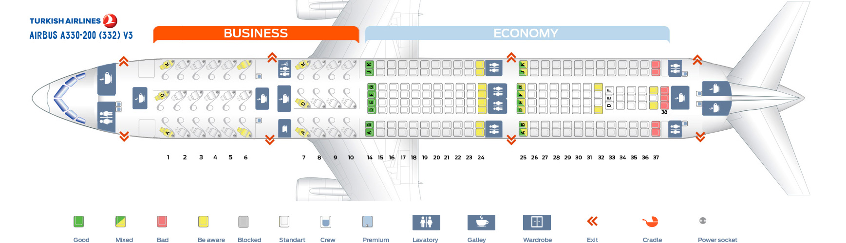 Seat Map Airbus A330-200 V3 Turkish Airlines