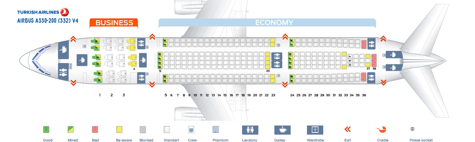 Seat Map Airbus A330-200 V4 Turkish Airlines
