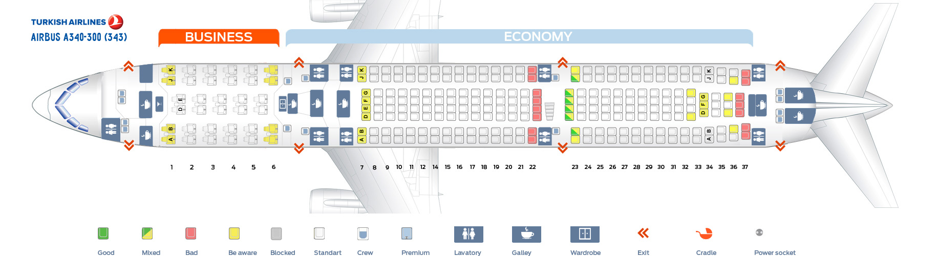 Seat Map Airbus A340-300 Turkish Airlines