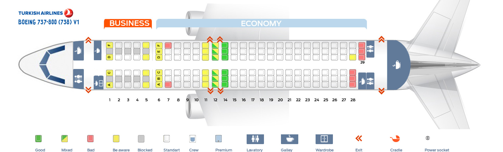 Boeing 737-800 Seat Map Seat map Boeing 737 800 Turkish Airlines. Best seats in the plane