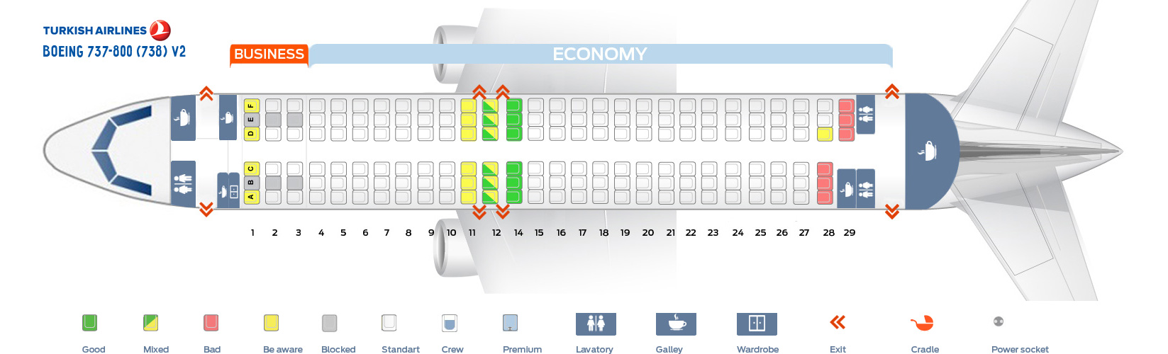 Seat Map Boeing 737-800 V2 Turkish Airlines