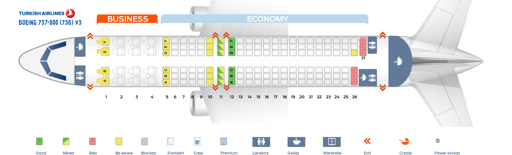 Seat Map Boeing 737-800 V3 Turkish Airlines