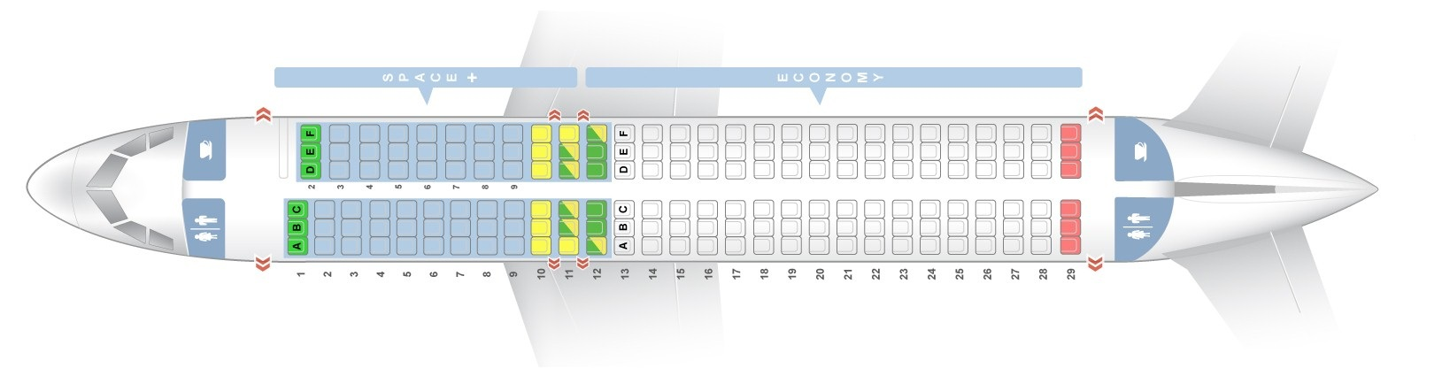 Seat map Airbus A320-200 Air New Zealand. Best seats in the plane
