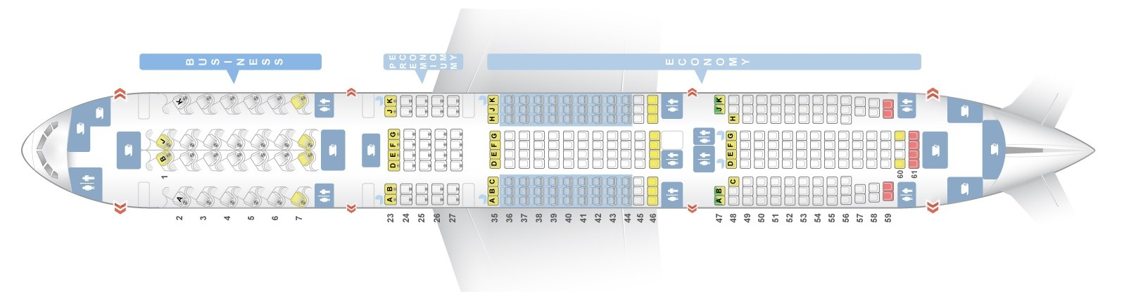 Seat map Boeing 777-200 Air New Zealand. Best seats in the plane