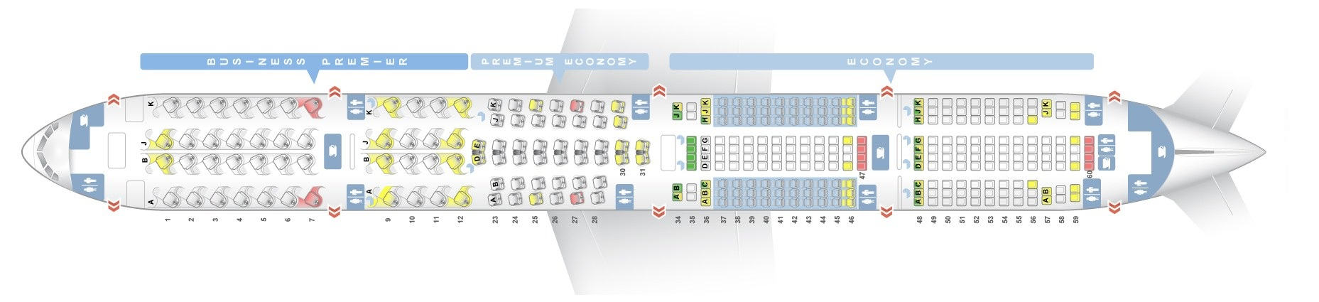 Seat map Boeing 777-300 Air New Zealand. Best seats in the plane