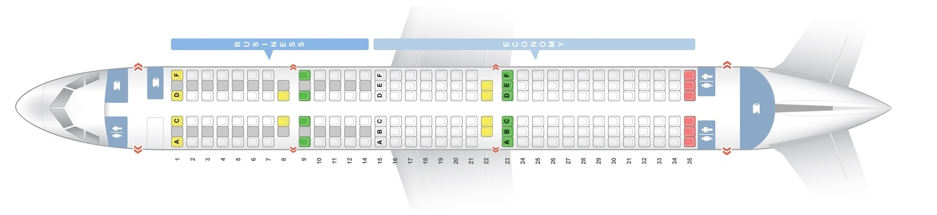Seat map Airbus A321-200 Iberia. Best seats in the plane