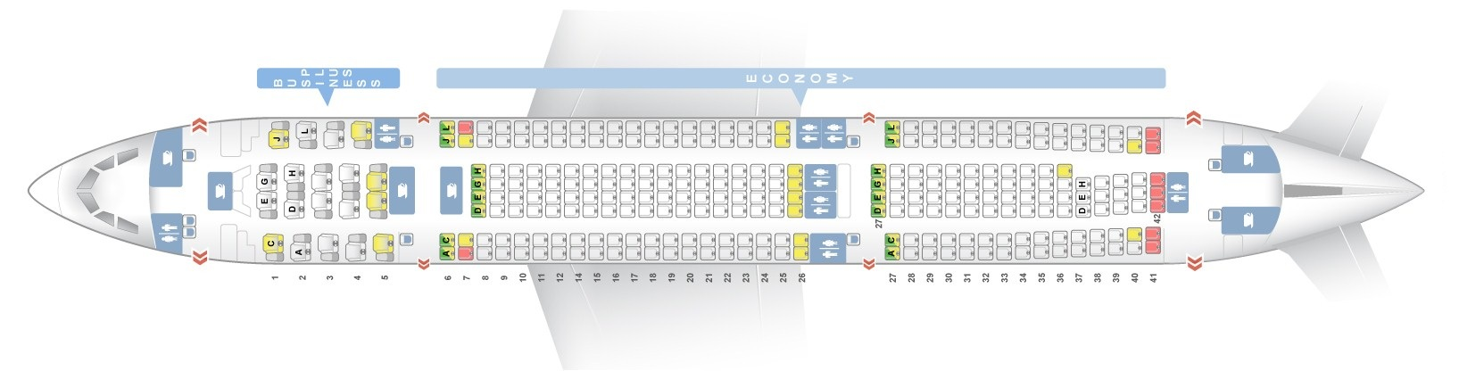 Seat map Airbus A330-200 Iberia. Best seats in the plane