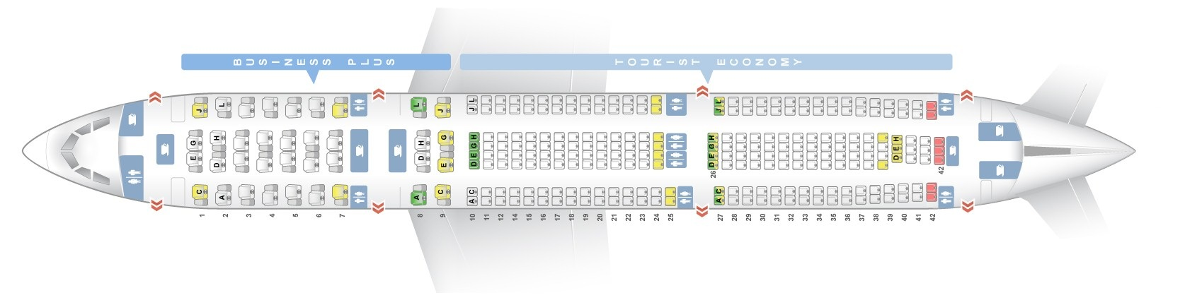 Seat map Airbus A330-300 Iberia. Best seats in the plane