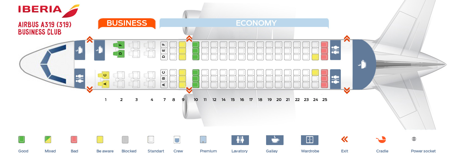 Seat Map Airbus A319-100 Business Club Iberia