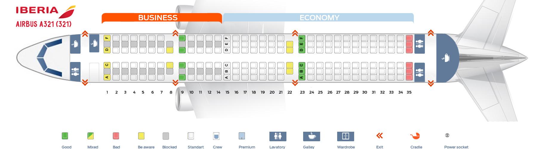 Seat Map Airbus A321-200 Iberia