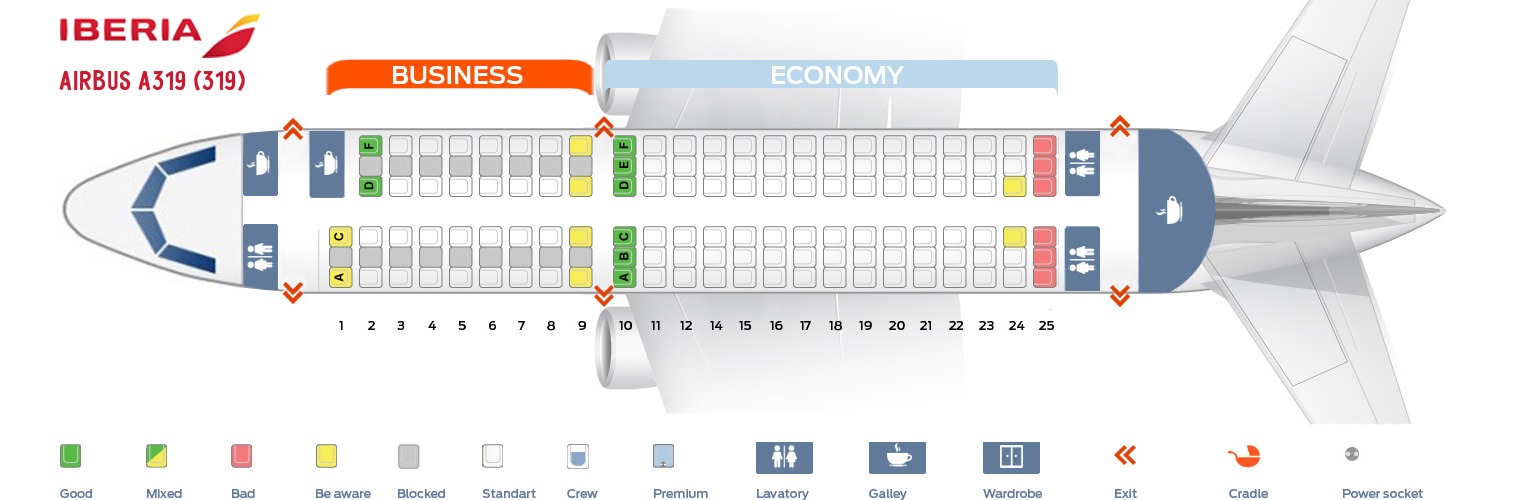 Seat Map Airbus A319-100 Iberia