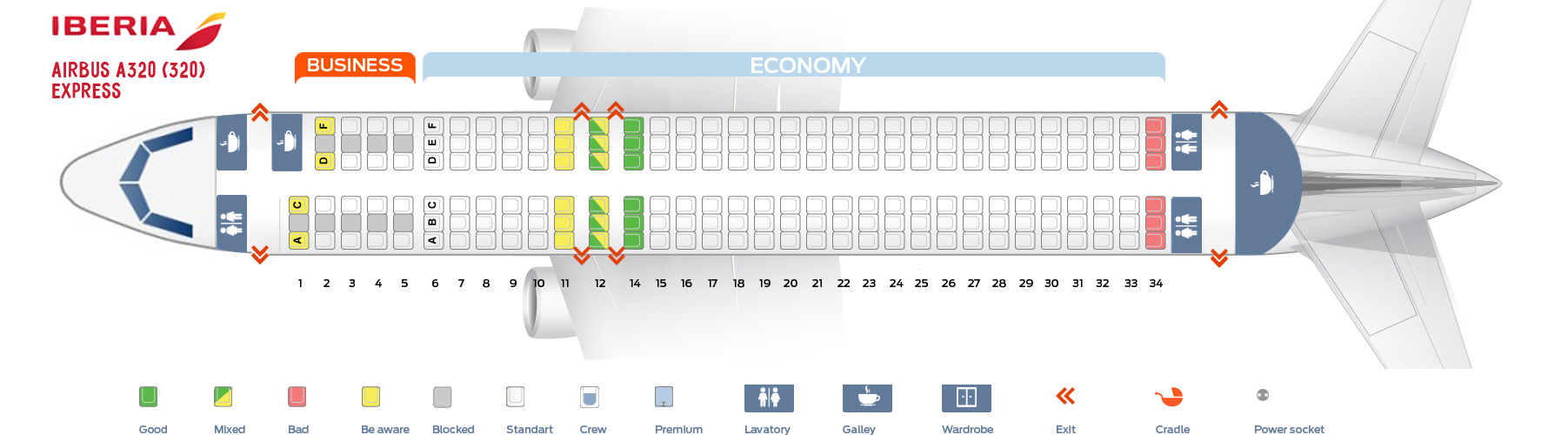 Seat Map Airbus A320 200 Iberia Best Seats In The Plane