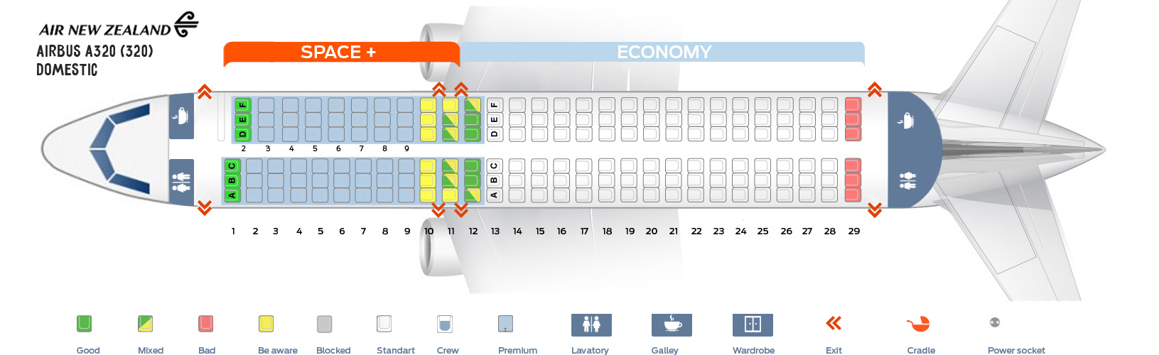 Seat Map Airbus A320 Domestic Air New Zealand
