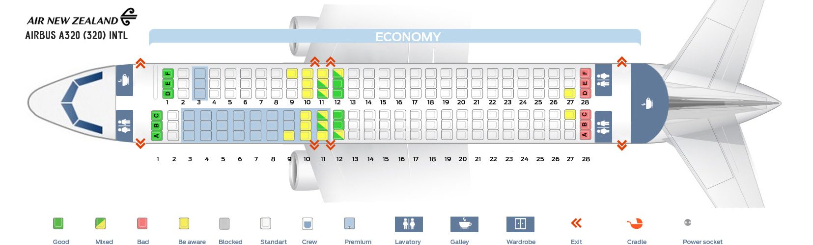 Seat Map Airbus A320 Intl Air New Zealand