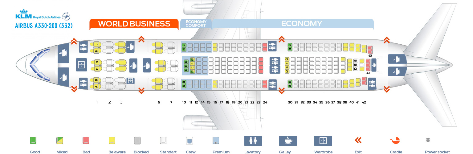 Seat Map Airbus A330-200 KLM Airlines