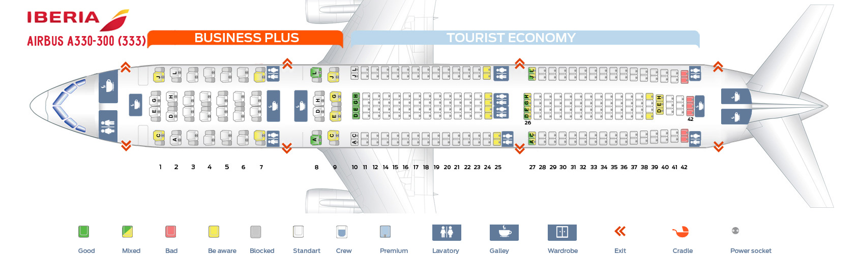 Seat Map Airbus A330-300 Iberia