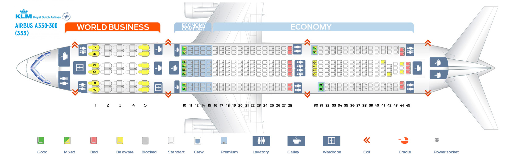 Seat Map Airbus A330-300 KLM Airlines