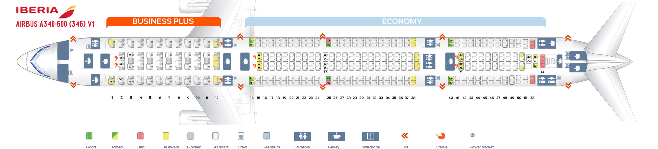 Seat Map Airbus A340-600 V1 Iberia