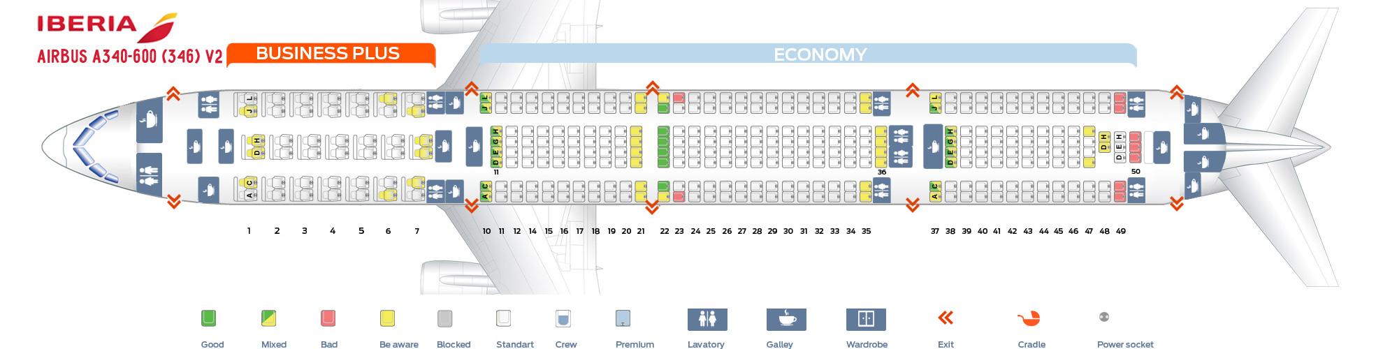 Seat Map Airbus A340-600 V2 Iberia