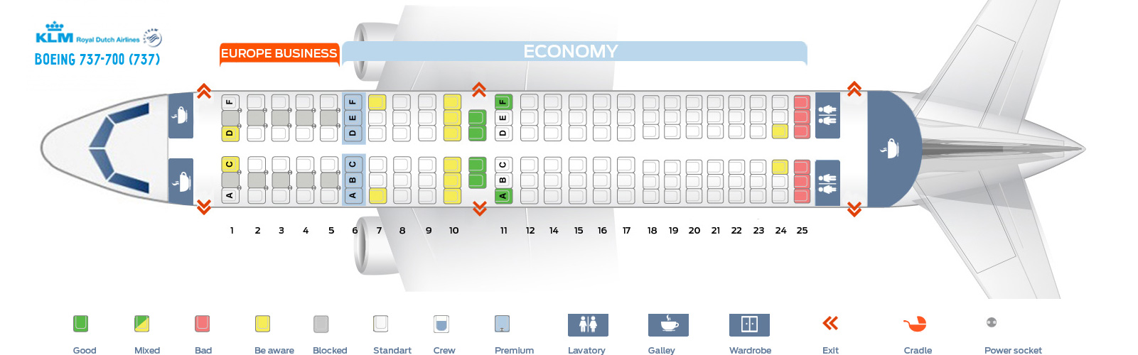 Seat Map Boeing 737-700 KLM Airlines