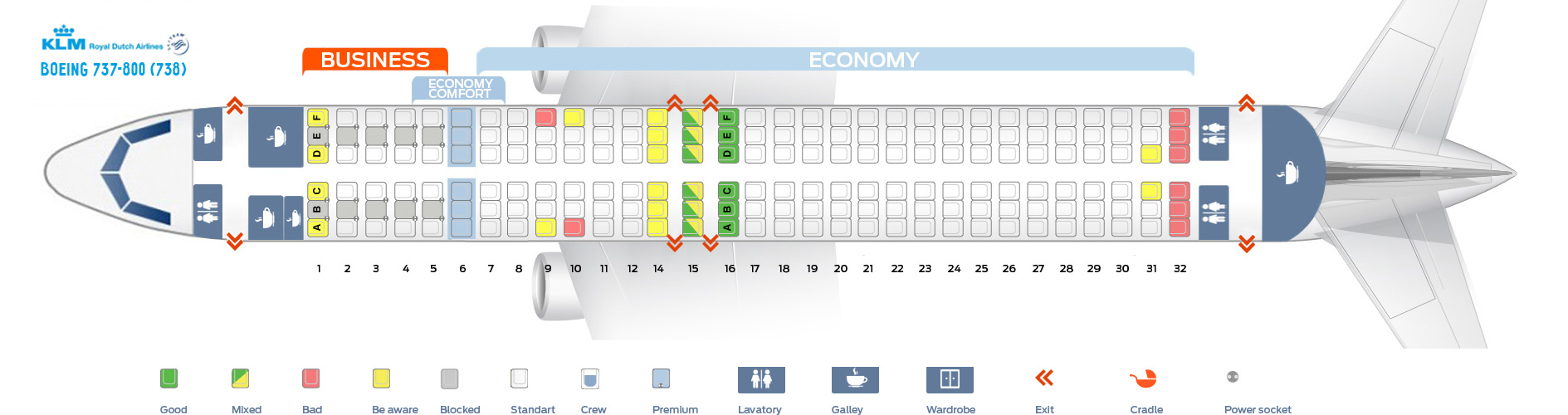 Seat Map Boeing 737-800 KLM Airlines