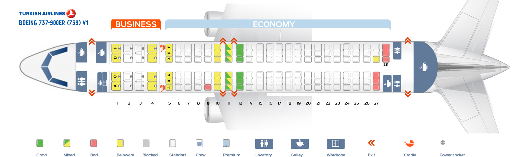 Seat Map Boeing 737-900ER V1 Turkish Airlines