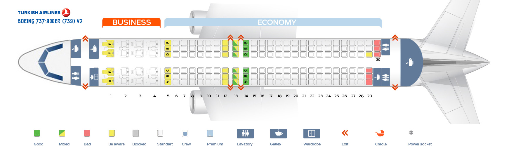 Seat Map Boeing 737-900ER V2 Turkish Airlines