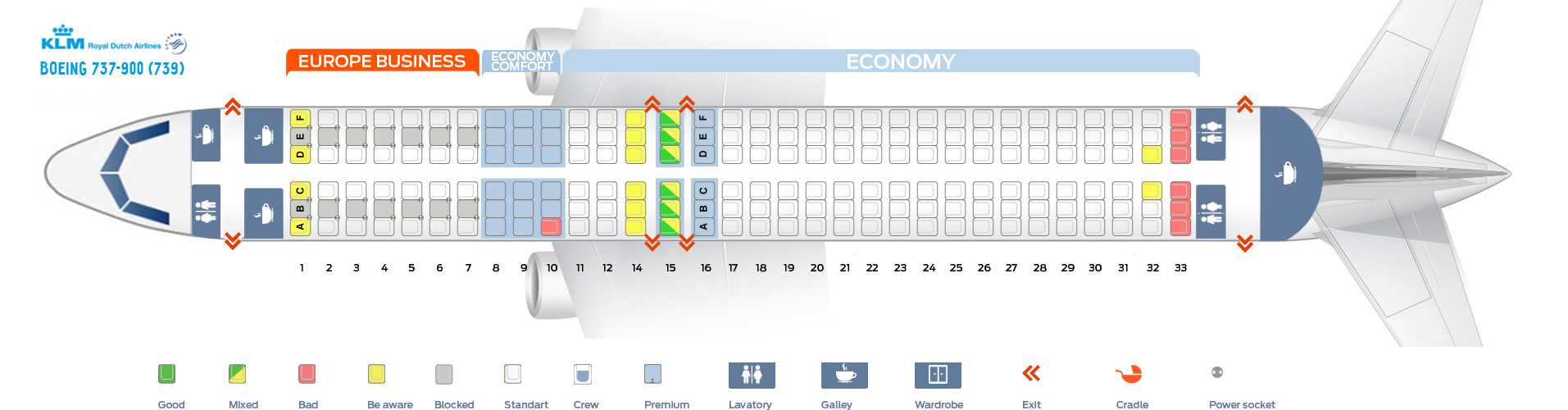 Seat Map Boeing 737-900 KLM Airlines