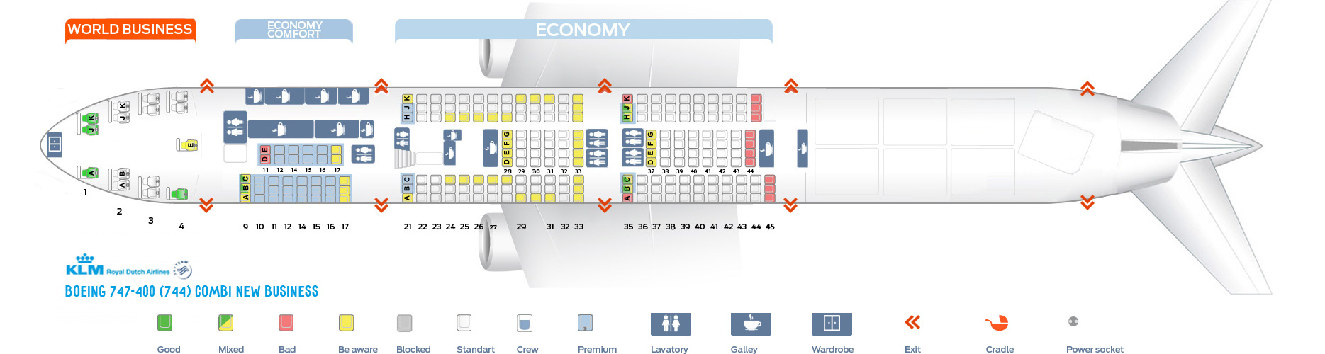 Seat Map Boeing 747-400 Combi New Business KLM Airlines