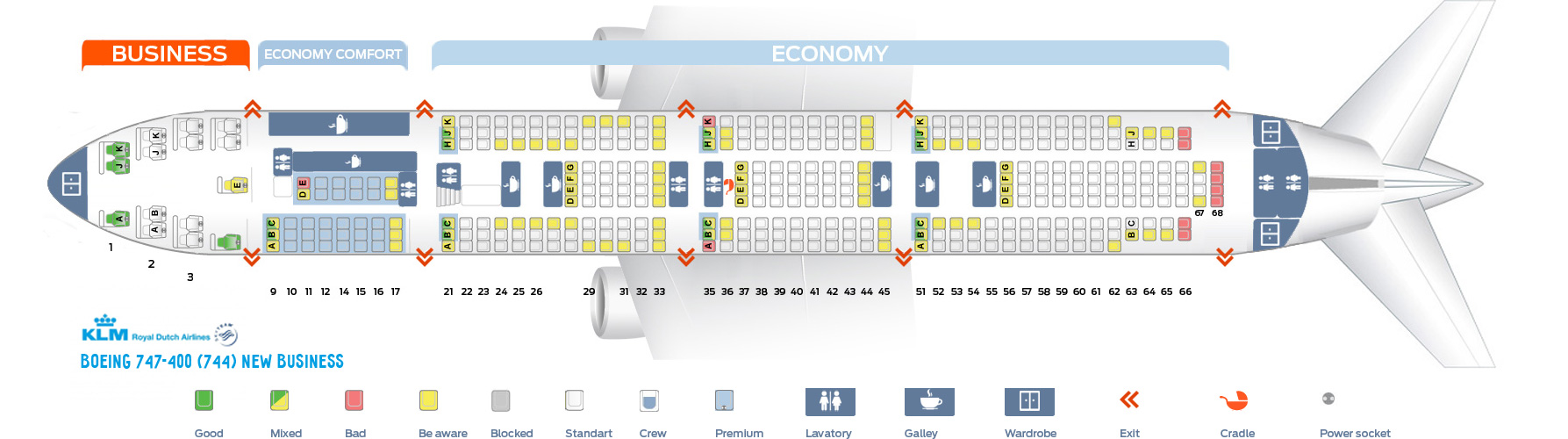 Seat Map Boeing 747-400 New Business KLM Airlines