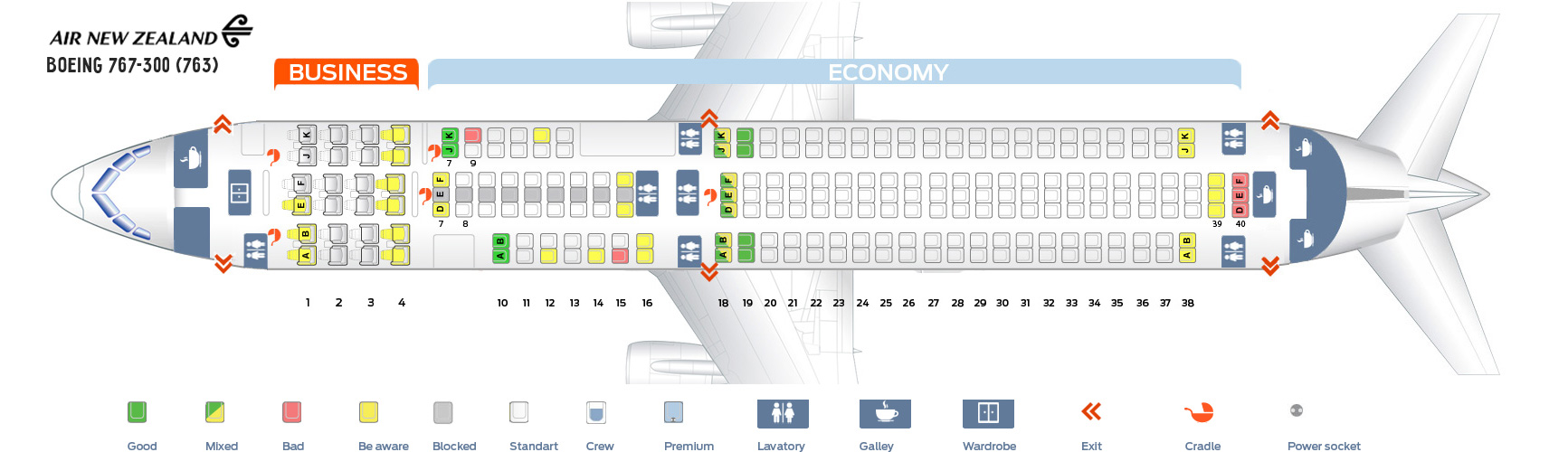 Seat Map Boeing 767-300 Air New Zealand
