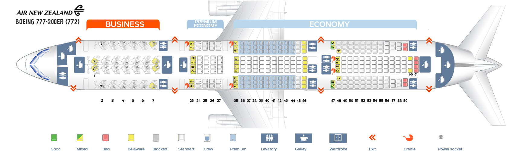 Seat Map Boeing 777-200ER Air New Zealand