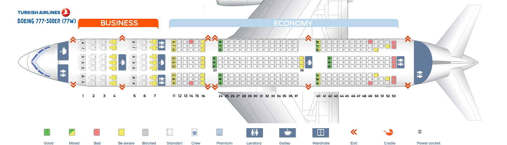 Seat Map Boeing 777-300ER Turkish Airlines