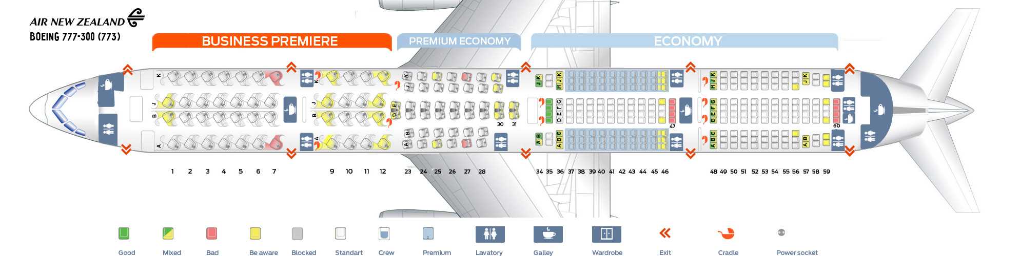 Seat Map Boeing 777-300 Air New Zealand