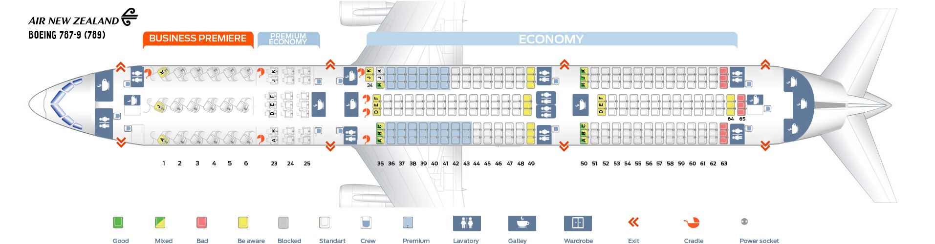 Seat Map Boeing 787-9 Air New Zealand