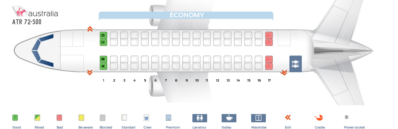 Seat Map ATR 72-500 Virgin Australia