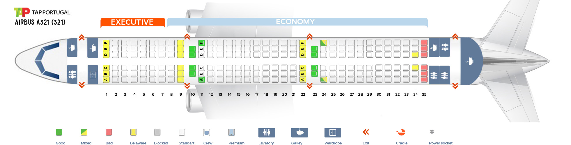 Seat Map Airbus A321-200 Tap Portugal