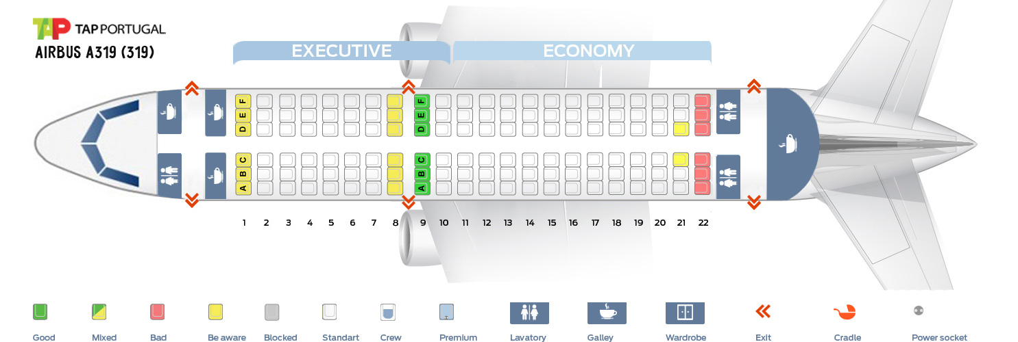 Seat Map Airbus A319 Tap Portugal